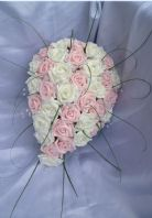 ARTIFICIAL WEDDING FLOWERS PINK IVORY FOAM ROSE BRIDE CRYSTAL TEARDROP BOUQUET
